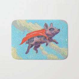 flying pig - by phil art guy Bath Mat