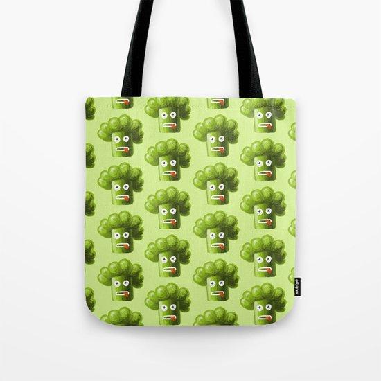 Green Funny Cartoon Broccoli Tote Bag