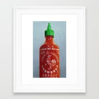 sriracha Framed Art Prints featuring Sriracha Oil Painting by LVP _