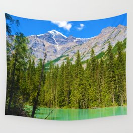 Mt. Robson and the Robson River in British Columbia, Canada Wall Tapestry