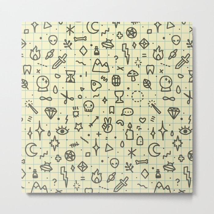Doodles Pattern Metal Print
