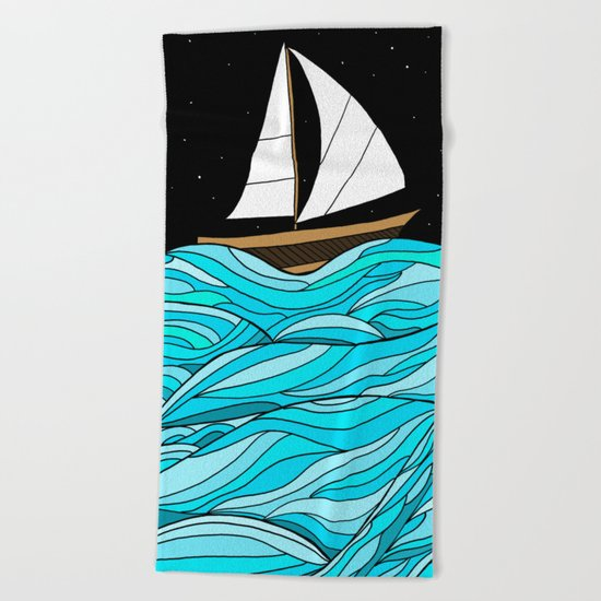 Night Sea Beach Towel
