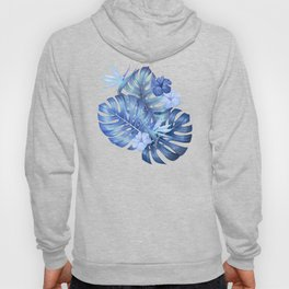 Blue tropical pattern  (monstera leaves and bird of paradise flowers Hoody