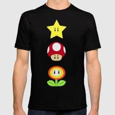 Super Mario Bros Star, Mushroom and Flower MEDIUM Mens Fitted Tee Black