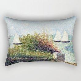 Georges Seurat - The Harbor Of Grandcamp - Digital Remastered Edition Rectangular Pillow