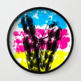 cactus with colorful painting abstract background in blue pink yellow Wall Clock