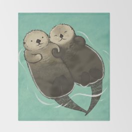 Significant Otters - Otters Holding Hands Throw Blanket