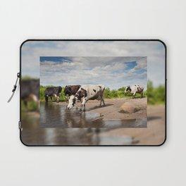 Herd of cows walking across puddle Laptop Sleeve