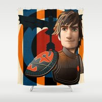 hiccup Shower Curtains featuring Train a Dragon by milanova