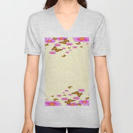 SCATTERED  PINK WILD ROSES  MONARCH BUTTERFLIES Unisex V-Neck