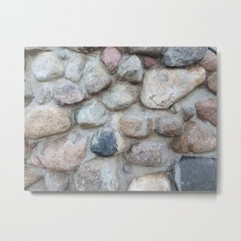 gray stone wall with cement, external wall of an old building, backgrounds Metal Print