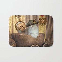 Steampunk, beautiful cat with steampunk hat Bath Mat