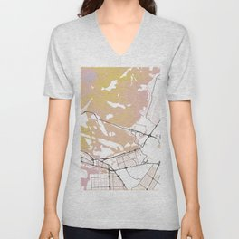 Abu Dhabi Street map Art Watercolor Unisex V-Neck