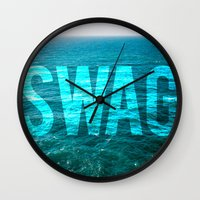 swag Wall Clocks featuring SWAG by MICKEY FICKEY GALLERY