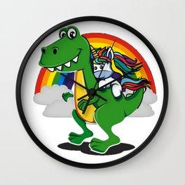 Unicorn Riding T-Rex Dinosaur Rainbow Boys Wall Clock
