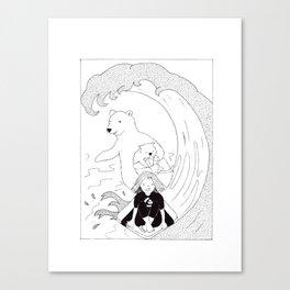 Surfing Friends Canvas Print