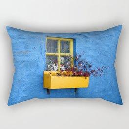 FLOWER - BOX - YELLOW - BLUE - WALL - PHOTOGRAPHY Rectangular Pillow