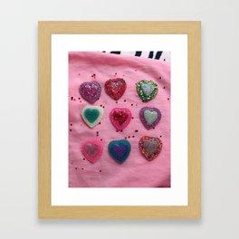 Glitter Hearts Club Framed Art Print