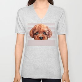 Toy poodle red brown Dog illustration original painting print Unisex V-Neck