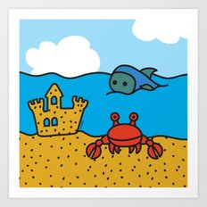 Fish and Crab Art Print