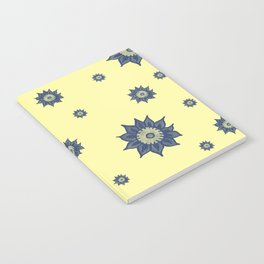 Blue Flowers on Yellow Notebook