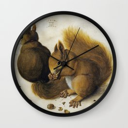 Albrecht Durer - Two Squirrels  One Eating A Hazelnut Wall Clock
