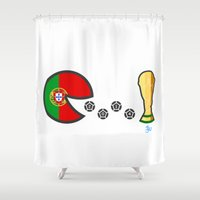 portugal Shower Curtains featuring Portugal by onejyoo