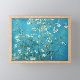 Vincent van Gogh Blossoming Almond Tree (Almond Blossoms) Light Blue Framed Mini Art Print