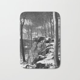 A vertical version of the rocks and trees Bath Mat
