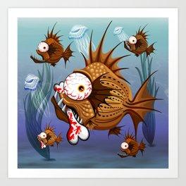 Psycho Fish Piranha with Bone Art Print