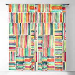 Retro Beach Chair Bright Watercolor Stripes on White Blackout Curtain