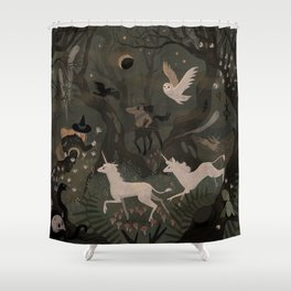 Spooky Forest with Ghosts Shower Curtain