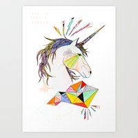 unicorn Art Prints featuring Unicorn by Belén Segarra