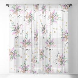 Modern cute whimsical floral unicorn pattern illustration gold glitter polka dots Sheer Curtain