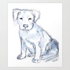 Pit Bull Puppy (for Kerry), watercolor Art Print