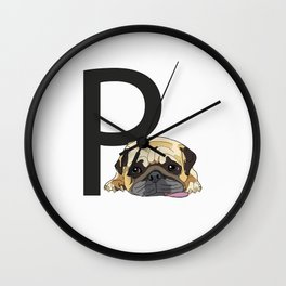 P is for Pug Dog Wall Clock