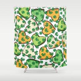 Retro Vintage St Patricks Day Green Hearts Irish Shower Curtain