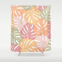 Monstera leaves Colorful Jungle leaves Palm leaves Tropical art Shower Curtain