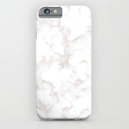 Rose Gold Marble Natural Stone Gold Metallic Veining White Quartz iPhone Case