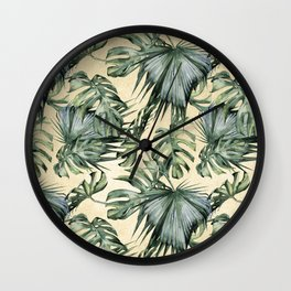 Palm Leaves Classic Linen Wall Clock