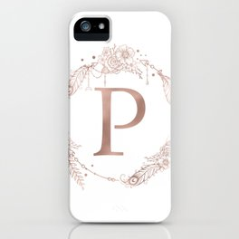 Letter P Rose Gold Pink Initial Monogram iPhone Case