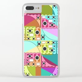 Camera pattern with colorful umbrellas Clear iPhone Case