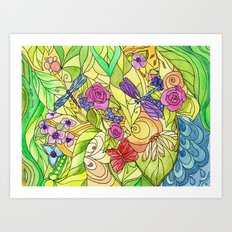 Stained Glass Garden Art Print