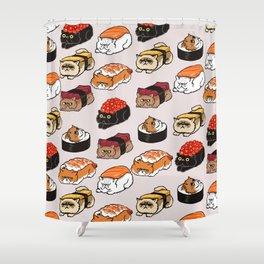 Sushi Persian Cat Shower Curtain