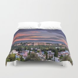 The Alhambra Palace and Albaicin. Granada. Spain at sunset Duvet Cover
