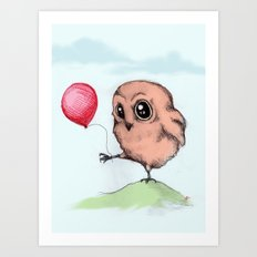 Baby Owl Balloon Art Print