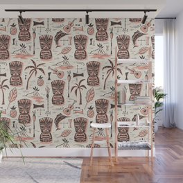 Tropical Tiki - Cream Pink Wall Mural