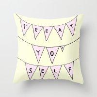 treat yo self Throw Pillows featuring Treat Yo' Self by Scout Garbaczewski