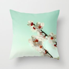White cheery blossom blooms under turquoise sky. Throw Pillow
