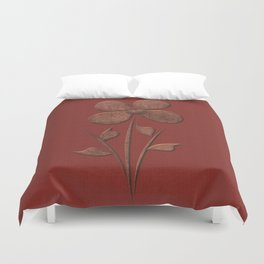 Cute Copper Look Flower Red Canvas Duvet Cover